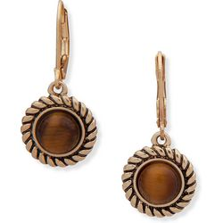 Chaps Gold Tone Tigers Eye Drop Earrings