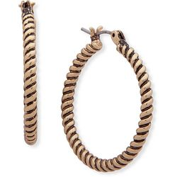 Chaps Gold Tone Textured Click-It Hoop Earrings