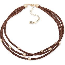 Chaps Brown Braided Multi-Row Necklace