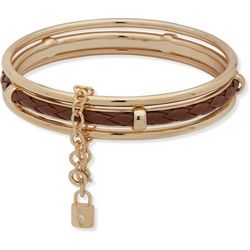 Chaps Gold Tone Triple Bangle Bracelet Set