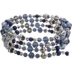 Chaps Blue Multi Beaded Coil Bracelet