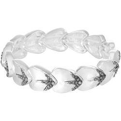 Chaps Silver Tone Marcasite Stretch Bracelet
