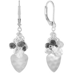 Chaps Silver Tone Beaded Cluster Teardrop Earrings