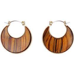 Chaps Small Brown Multi Flat Hoop Earrings