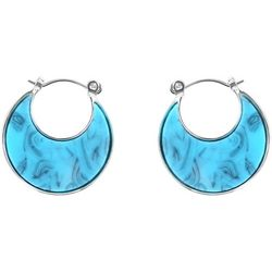 Chaps Turquoise Blue Flat Hoop Earrings