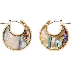 Chaps Gold Tone & Abalone Shell Flat Hoop Earrings