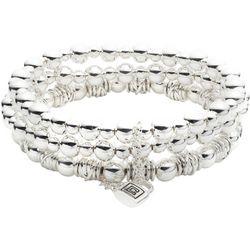 Chaps Silver Tone Beaded Stretch Bracelet