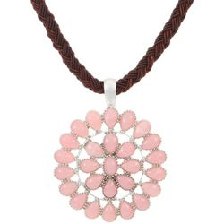 Chaps Pink Round Pendant Necklace