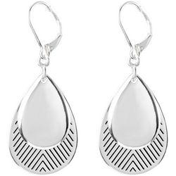 Chaps Layered Silver Tone Teardrop Earrings