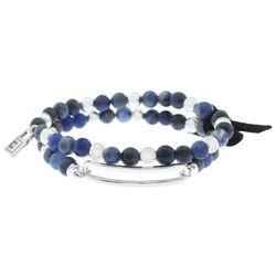 Chaps Sodalite Blue Beaded Stretch Bracelet Set