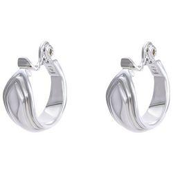 Chaps Small Silver Tone C Clip On Hoop Earrings