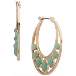 Chaps Seafoam Green & Gold Tone Hoop Earrings