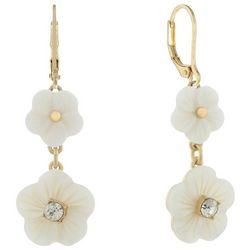 Chaps White Flower Double Drop Earrings