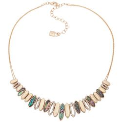 Chaps Gold Tone Abalone Shell & Rhinestone Front Necklace
