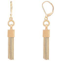 Chaps Gold Tone Snake Chain Tassel Earrings