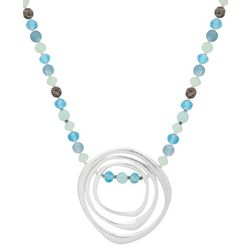 Chaps Silver Tone Ring Pendant Blue Beaded Necklace