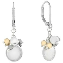 Chaps Tri Tone Bead & Disc Leverback Earrings