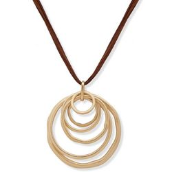 Chaps Gold Tone Round Ring Pendant Leather Necklace