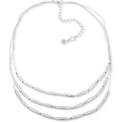 Chaps Three Row Silver Tone Beaded Necklace