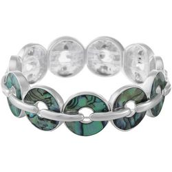 Chaps Abalone Silver Tone Donut Stretch Bracelet