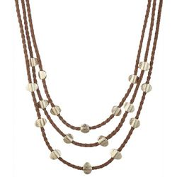 Chaps Triple Row Braided Corded Necklace