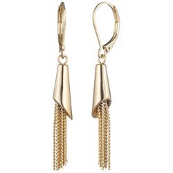 Chaps Gold Tone Tassel Dangle Earrings