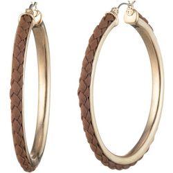 Chaps Inlaid Brown Braid Gold Tone Hoop Earrings
