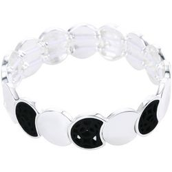 Chaps Black Cutout Silver Tone Link Bracelet