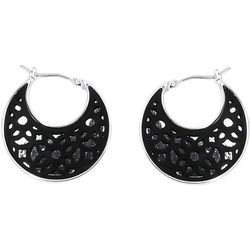 Chaps Black Leather & Lace Cutout Hoop Earrings