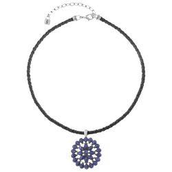 Chaps Blue Concha Stone Cord Pendant Necklace