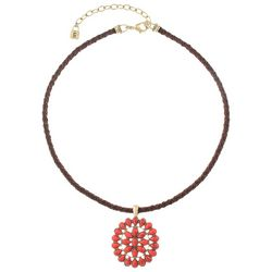 Chaps Coral Pink Concha Stone Pendant Cord Necklace