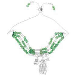 Chaps Silver Tone Green Beaded Slider Bracelet