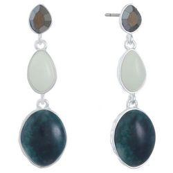 Chaps Multi Stone Linear Drop Earrings