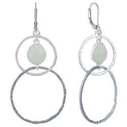 Chaps Silver Tone & Green Orbital Double Drop Ring Earrings