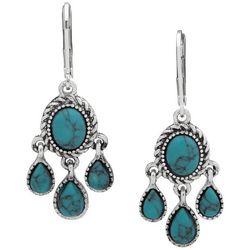 Chaps Silver Tone Turquoise Blue Chandelier Drop Earrings