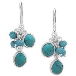 Chaps Silver Tone Turquoise Blue Bead Shaky Drop Earrings