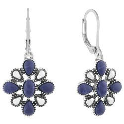Chaps Silver Tone Sodalite Blue Flower Drop Earrings