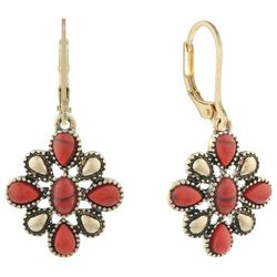 Chaps Gold Tone Coral Flower Drop Earrings