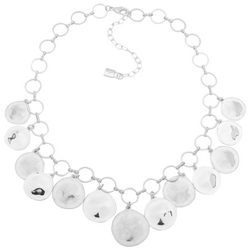 Chaps Silver Tone Shaky Disc Front Necklace