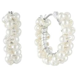 Chaps Small Faux Pearl Click It Hoop Earrings