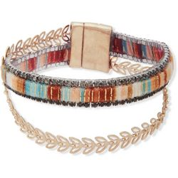 Chaps Gold Tone Rhinestone 2 Row Wrap Bracelet