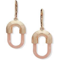Chaps Gold Tone & Pink Oval Leverback Drop Earrings