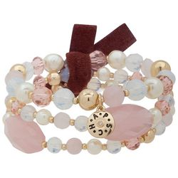 Chaps Pink & White Beaded Stretch Bracelet