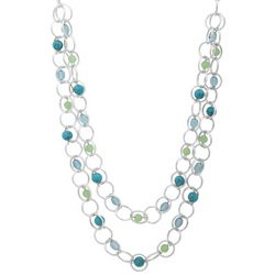 Chaps Blue & Green Bead Silver Tone Multi Ring Necklace