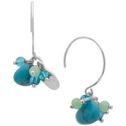 Chaps Turquoise Blue & Green Bead Cluster Earrings