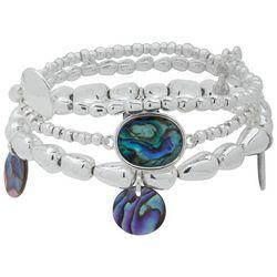 Chaps Silver Tone & Abalone Shell Stretch Bracelet