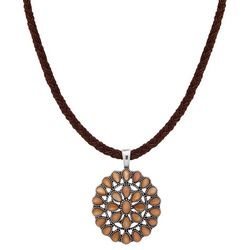 Chaps Golden Brown Round Stone Pendant Necklace
