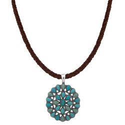 Chaps Turquoise Blue Round Pendant Necklace