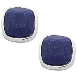 Chaps Silver Tone Blue Square Stud Earrings