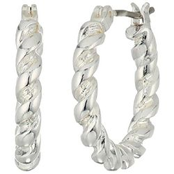Chaps Twisted Silver Tone Hoop Earrings